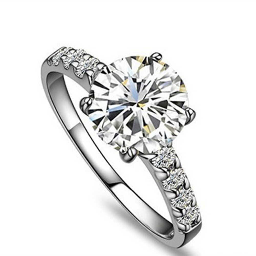 Dependable High Quality Sterling Silver Popular 1ct Excellent Round Diamond  Ring 18k White Gold Plated Wedding Ring For Women