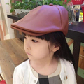 2017 child fashion leather beret male fashion faux leather cap kids baby boys girls cap 2-7 year