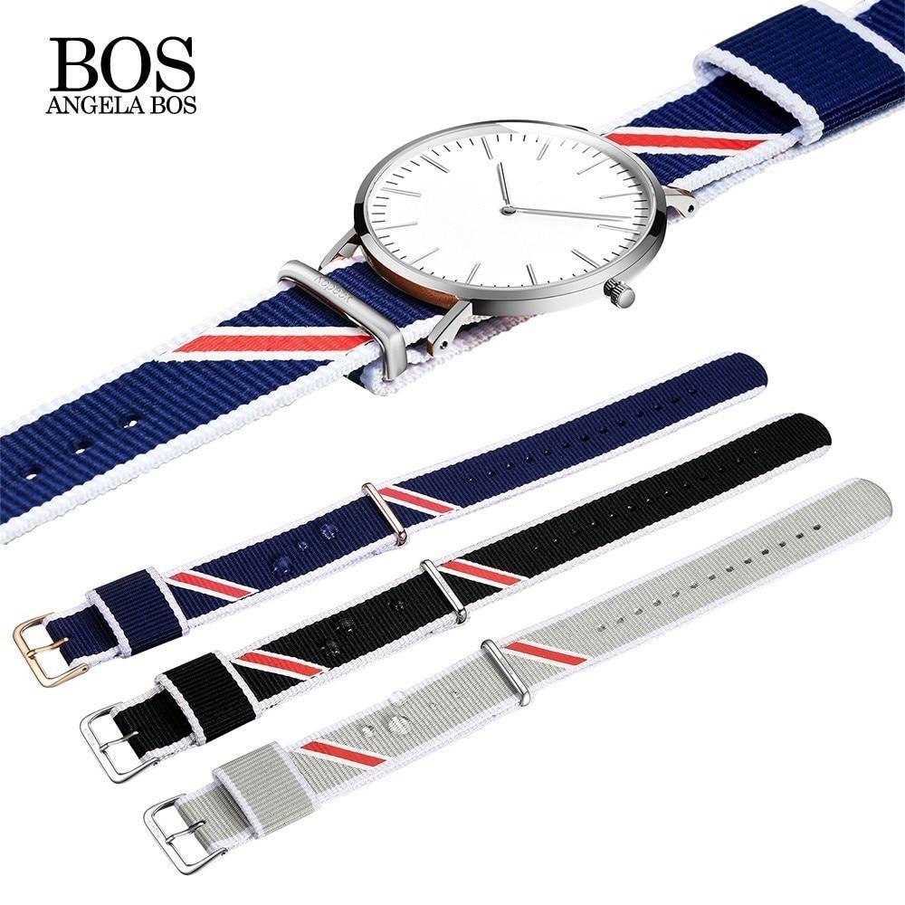 ANGELA BOS Nylon Men Watch Band 20mm Watch Strap 18mm Watchband Watch Women 18 Watchbands Belt Accessories Wristwatch Strap цена
