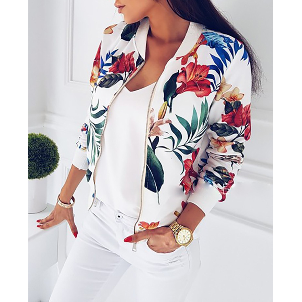 Women Clothes Retro Floral Print Coat Women Zipper Up Bomber Jacket Plus Size Long Sleeve Coats Tops Autumn Female Outwear