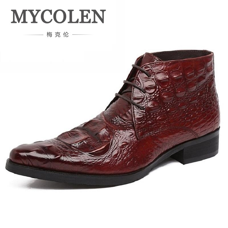 MYCOLEN Brand Man High-Top Pointed Toe Male Ankle Boots Luxury Genuine Leather Crocodile Designer Men's Cowboy Martin Shoes new arrival man luxury brand cowboy western shoes male designer genuine leather round toe men s cowboy martin ankle boots ke62 page 3