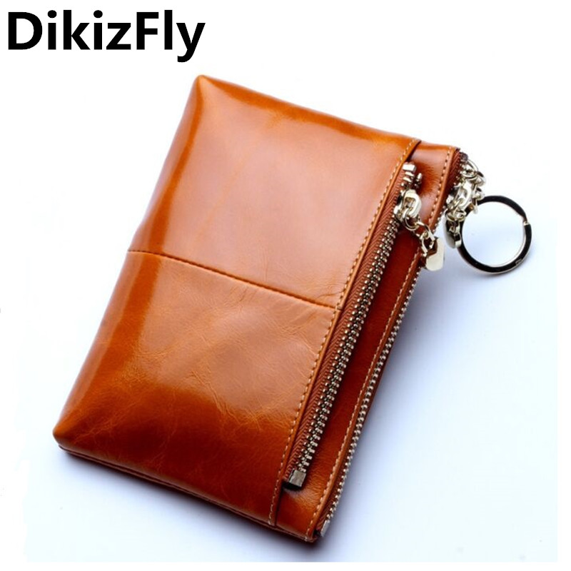 DikizFly Women Genuine Leather Short Wallet womens wallets and purses Zipper Design With Coin Purse Pockets Mini Wallet 2017