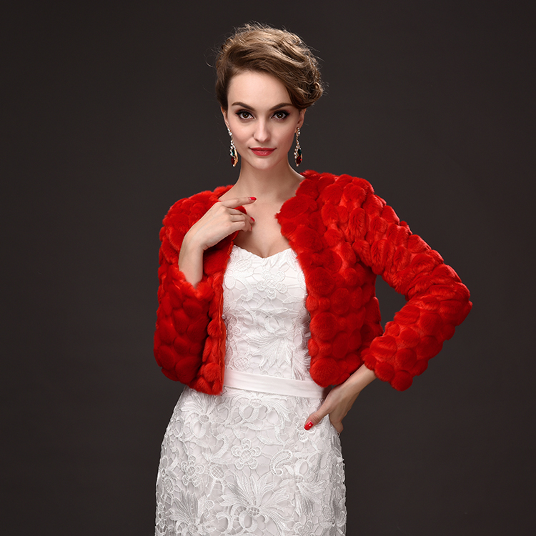 PJ7755 New Fashion Women Winter Clothes Red long Sleeved Women Short Coat Embossed Bride Cape Faux fur Shawl