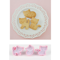 Cat Cartoon Cookie Mold Biscuit Moulds Embossed Cake Diy Baking Tools 3pcs Set Cookie Stamps Baking