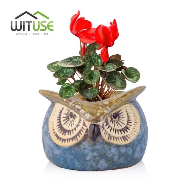 WITUSE Owl Clay Garden Pot Desktop Succulent Plant Ceramic Indoor ...