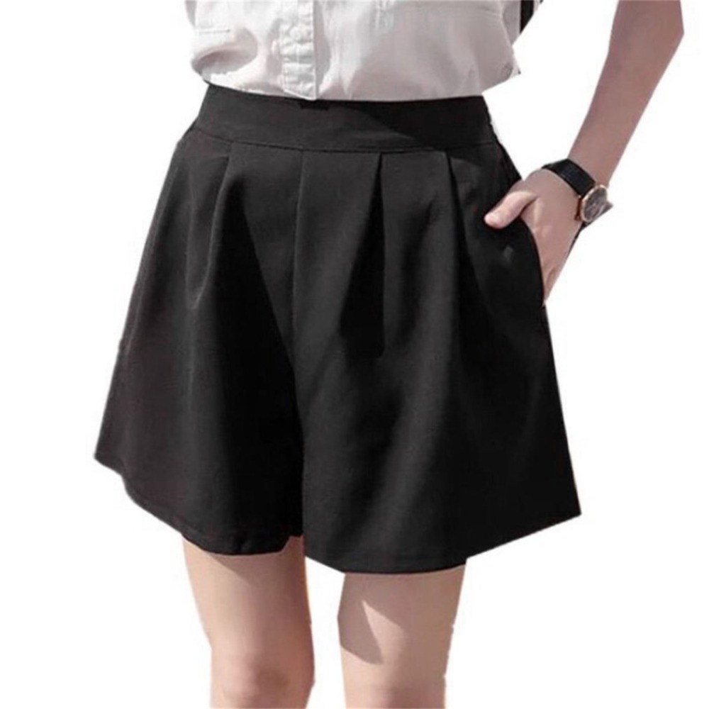 Black   shorts   skirt summer women girl Loose slim high waist casual Straight   Shorts   Female pocket work office wear clothing