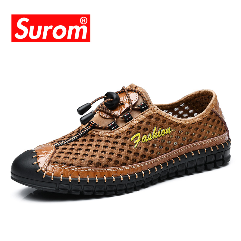 SUROM 2018 Summer New Casual Shoes For Men's Breathable Mesh Slip on Loafers Light Comfortable Driving Shoes Men Moccasins Shoes chilenxas 2017 summer new fashion air mesh shoes men casual footwear breathable slip on light loafers round toe sweat absorbant