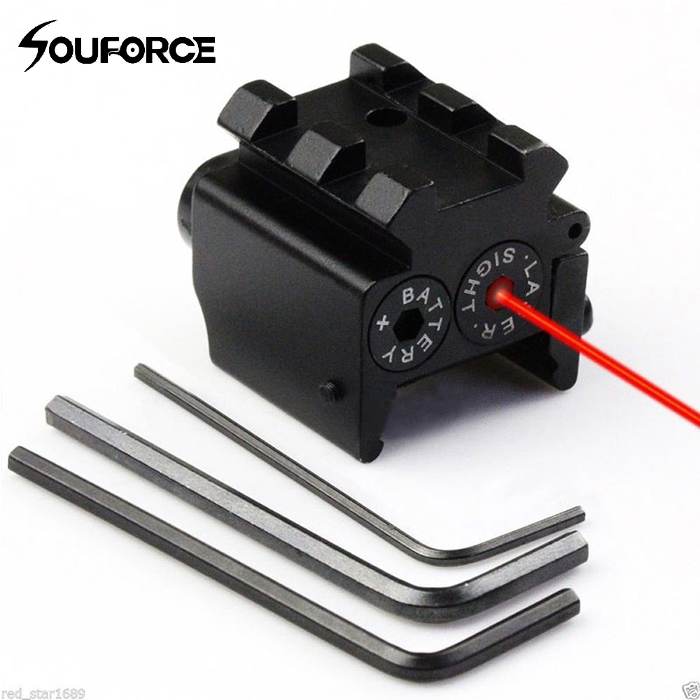 Mini Justerbar Compact Red Dot Laser Sight med Avtagbar Picatinny 20mm Rail för Pistol Air-Gun Rifle Jakt Accessious