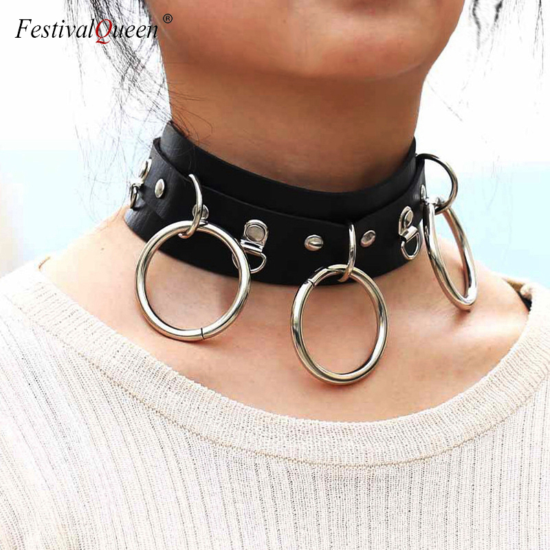 <font><b>FestivalQueen</b></font> <font><b>Sexy</b></font> PU Leather Collar Neck Necklace Wide Belt Bondage Restraints Bdsm Harness Suspender Choker Necklace image