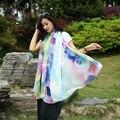 [YWJUNFU] Summer Beach Silk Scarves Soft Print Floral Scarf Chiffon Long Shawls 150*200cm Girls Sunscreen Wraps Scarves Ladies