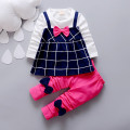 Free Shipping 2016 New Spring Baby Girls Clothing Set Children Bowknot Fake 2 Pcs Plaid Dress+Leggings Long Sleeve Twinset Kids