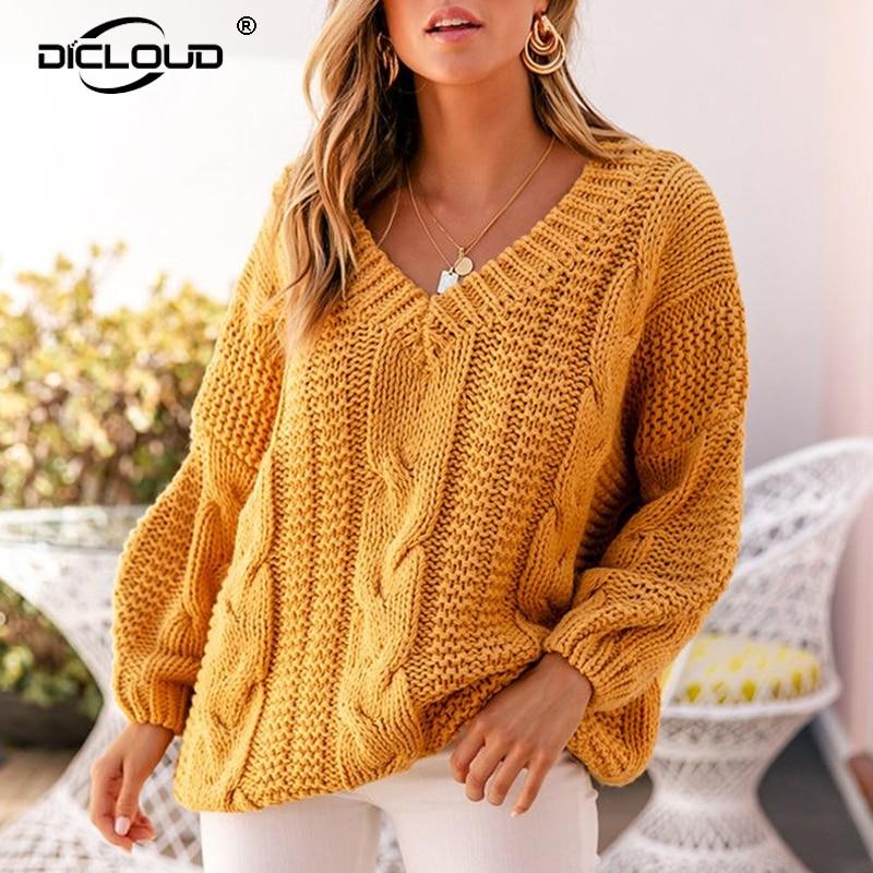 Women Fluffy Winter Warm Knitted Jumper Sweater Pullover Knitwear Tops Blouse US