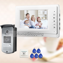 FREE SHIPPING 7″ Video Intercom Door Phone System With 1 White Monitor 1 RFID Card Reader HD Doorbell Camera In Stock Wholesale