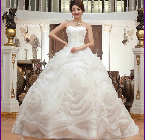 Real Picture! Ivryo White Organza Ruffle Ball Gown Sweatheart Rose ...