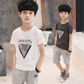 Toddler Boys Clothes 2018 Summer Kids Shorts Suits Casual Cotton Children Clothing Set Striped Pockets O-Neck Boy Outwear 6-15T
