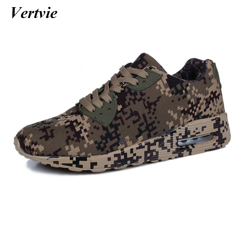 Vertvie Brand Mesh Breathable Running Shoes Men Army Camouflage Men Women Couples Sports Shoes Outdoor Camo Unisex Flat Sneakers