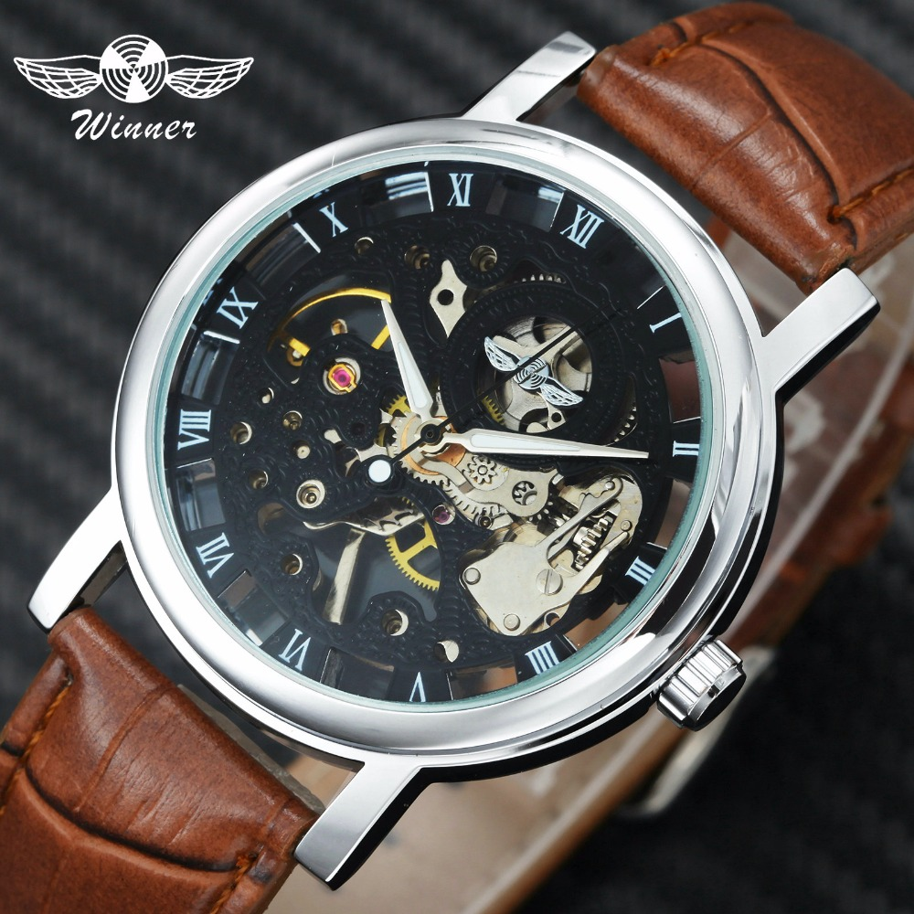 WINNER Official Fashion Classic Watch Men Mechanical Watches Skeleton Dial Leather Strap Roman Numerals Black Relogio Masculino