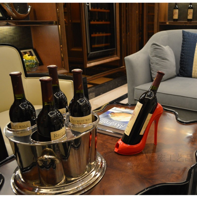 Stylish Creative Wine Cellar High Heel Shoe Model Wine Bottle Holder Resin Statue Crafts Wine Rack Stand Table Decor Ornaments in Wine Racks from Home Garden