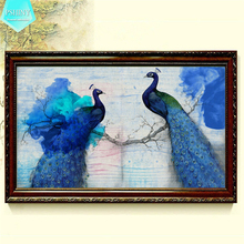 PSHINY 5D DIY Diamond embroidery sale Blue Peacock picture kit full round rhinestone animals painting cross stich