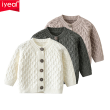 IYEAL Newest Baby Sweater Knitted Boys Girls Toddler Solid Sweater Handmade Infant Single Breasted Cardigan Kids Newborn Clothes