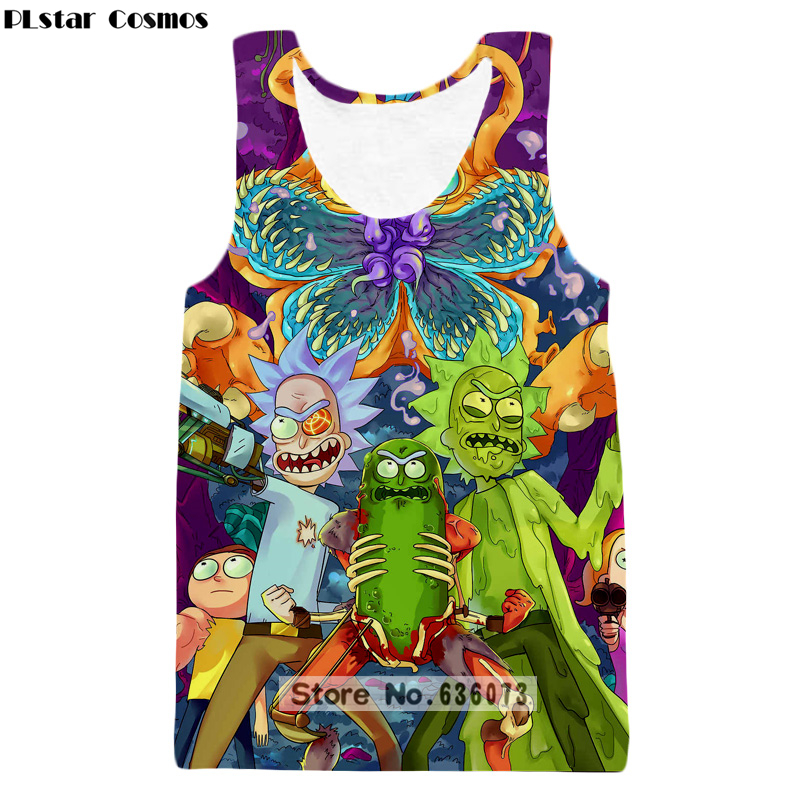 PLstar Cosmos 2019 hot sale New Fashion   Tank     tops   Animation Rick and morty Print 3D Vest summer style casual vest ZV50