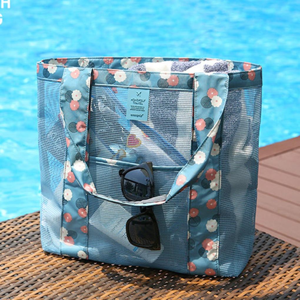 Mesh Beach Bag Travel Folding Bag Large Tote Bag Beach Storage Tote Bag for Women 4 Color iridescent tote bag