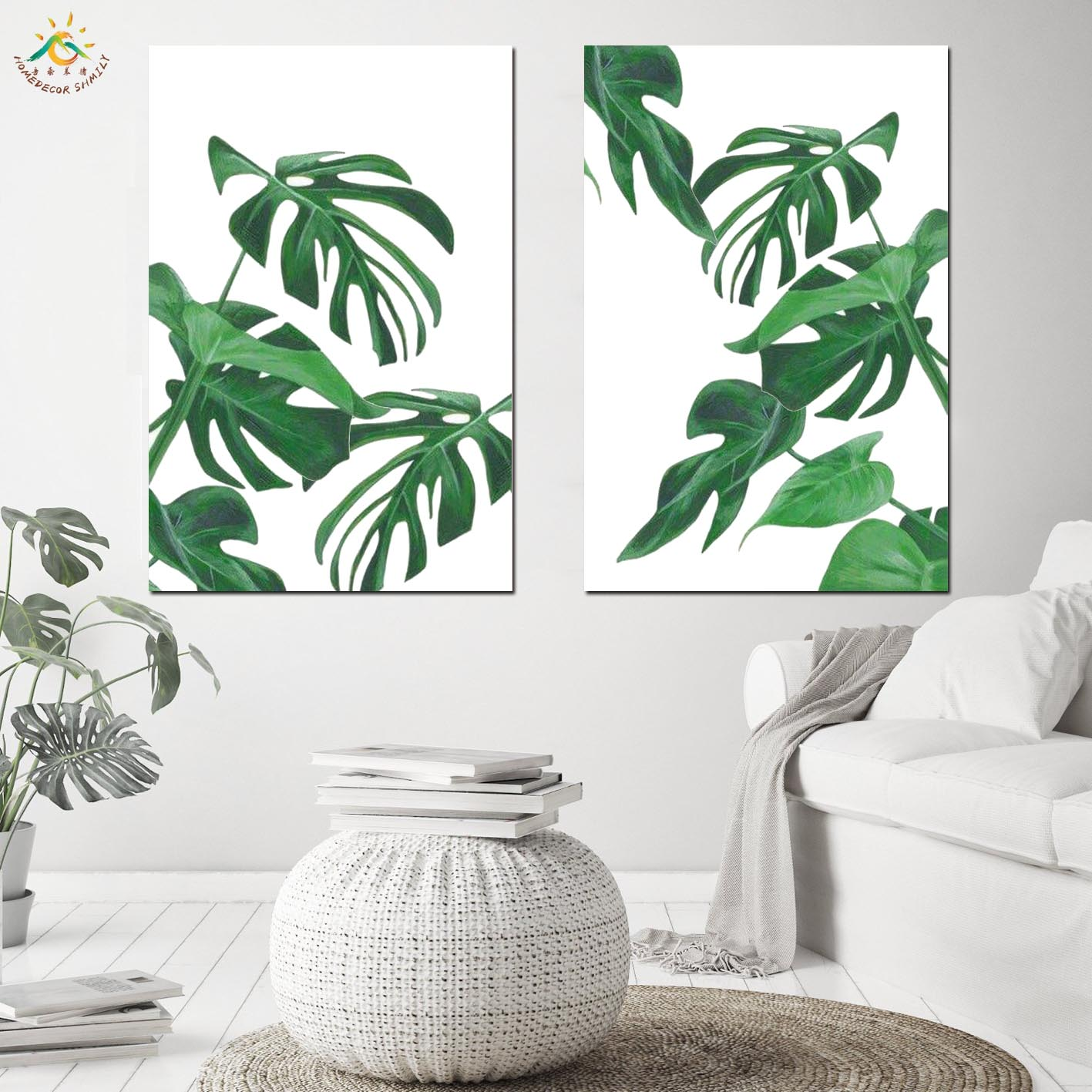 Green Plants Nordic Poster Modern Canvas Painting Wall Pictures Canvas Prints And Poster Scroll Painting Nordic Decoration Home in Painting Calligraphy from Home Garden