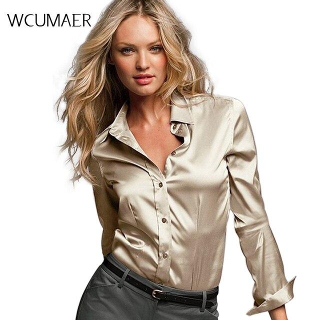 7ec8d50daa Blusa feminina de seda cetim com botões P-GGGG camisa casual branca preta  dourada vermelha