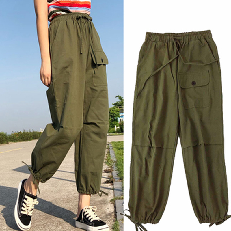 2019 Korean Style Streetwear Cargo   Pants   Women Casual Joggers Black Green High Waist Loose Ffemale Trousers Ladies   Pants     Capris