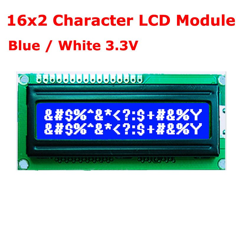 16x2 1602 16*2  Character LCD Module Blue Background White Characters 3.3V