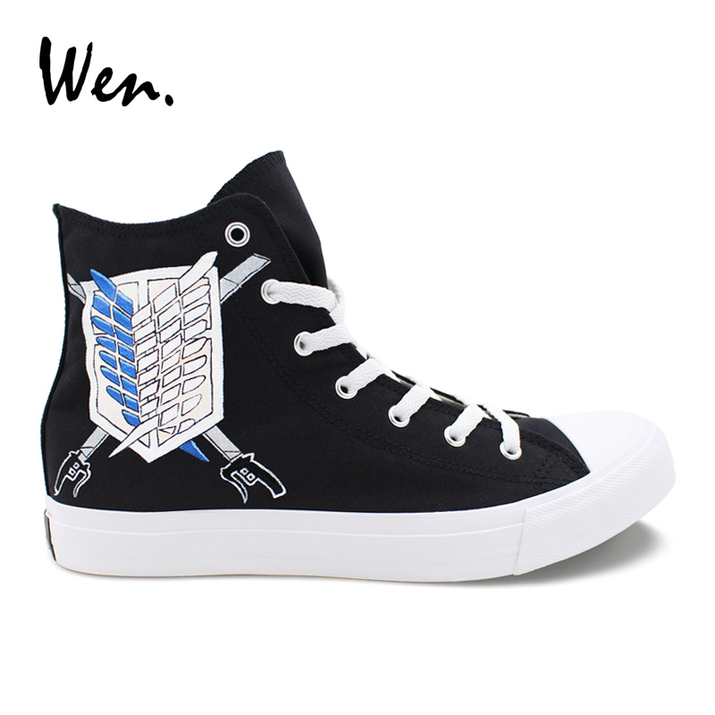 Wen Casual Black Shoes Design Custom Anime Attack on Titan Wings Logo Hand Painted Canvas Shoes High Top Mens Womens Sneakers