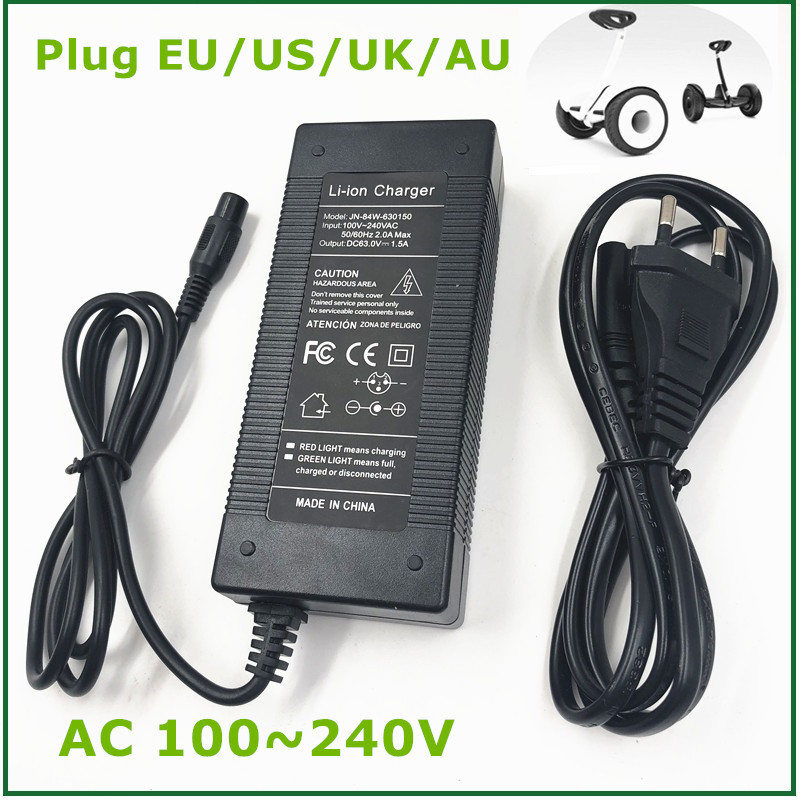 output 63V 1.5A Charger Battery Supply for Xiaomi Ninebot Ninebot Mini Pro Xiaomi Smart Scooter Ninebot Skateboard Accessories