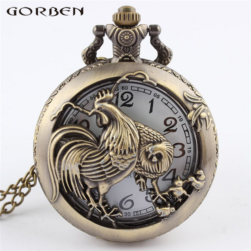 2017 New Design Bronze Rooster Hollow Quartz Pocket Watch Retro Style Cock Pocket Watch Necklace Pendant For Women Men Best Gift