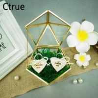Romantic Personalized Wedding Glass Ring Box Custom name & date Engagement Glass Ring Pillow Wedding Jewelry Organize Holder