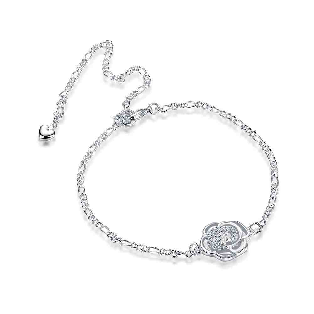 Girls Silver plated jewelry Insets flowers anklet font b bracelets b font font b bangles b