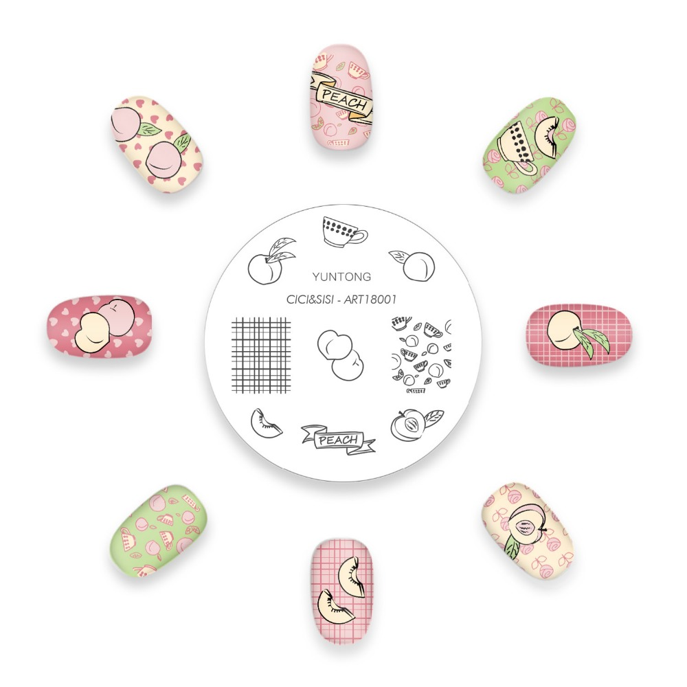 CICI&SISI ZODIAC Nail stamping plates Fruits theme Peach/Kiwi/Strawberry цена и фото
