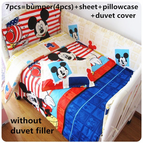 Promotion! 6/7pcs Mickey Mouse Baby Bedding Sets,Cotton Bed Linen Quilt Cover Cot Bumpers Crib Set,120*60/120*70cm