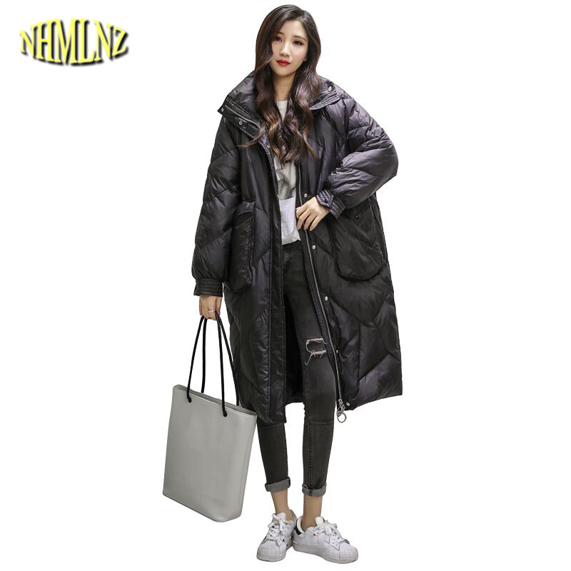 Down     Coats   Women Long Loose   Coats   2019 New Style Black White duck   down   Warm Winter   Coats   Female Outwear QA37