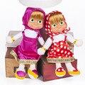 2016 Populares Masha y Oso de Peluche Muñecas Alta Calidad Rusa Masha y El Oso Juguetes de Peluche Para Niños Regalos de Cumpleaños Juguetes Briquedos