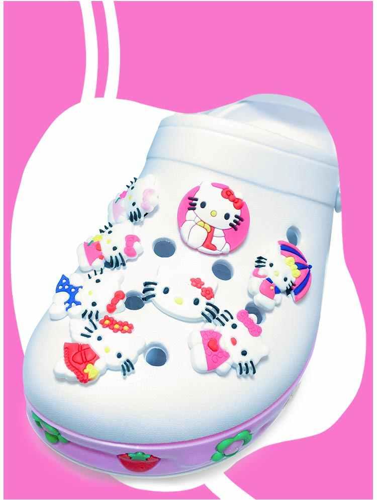 Frete grátis Hot promoção 50-60 pçs/lote Olá Kitty sapato PVC acessórios encantos da sapata sapato decoração para croc jibz caçoa o presente