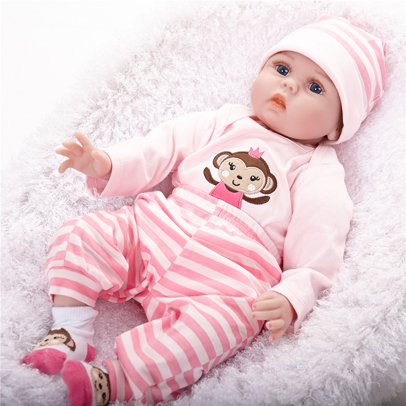 Silicone Reborn Baby Dolls with Bodysuit for Baby font b Bebe b font Reborn Kids Toys