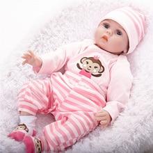 Bebe Reborn de Silicone Renascer Baby Dolls com Babador para o Bebê Crianças Brinquedos Adora Recém-nascidos Bebês Vivos Bonecas SB5587 Coleção de Bonecas