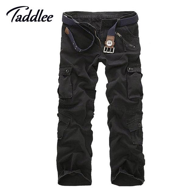 Taddlee camuflagem calças dos homens da marca slim fit longo cheio do comprimento de trabalho militar carga calças dos homens khaki exército multi-bolsos calças