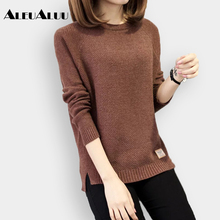 ALEUALUU Brand Fashion Women Solid Knit Sweater Loose Casual Pullovers Long Sleeve 2017 Autumn Winter O-Neck Clothes AEU110