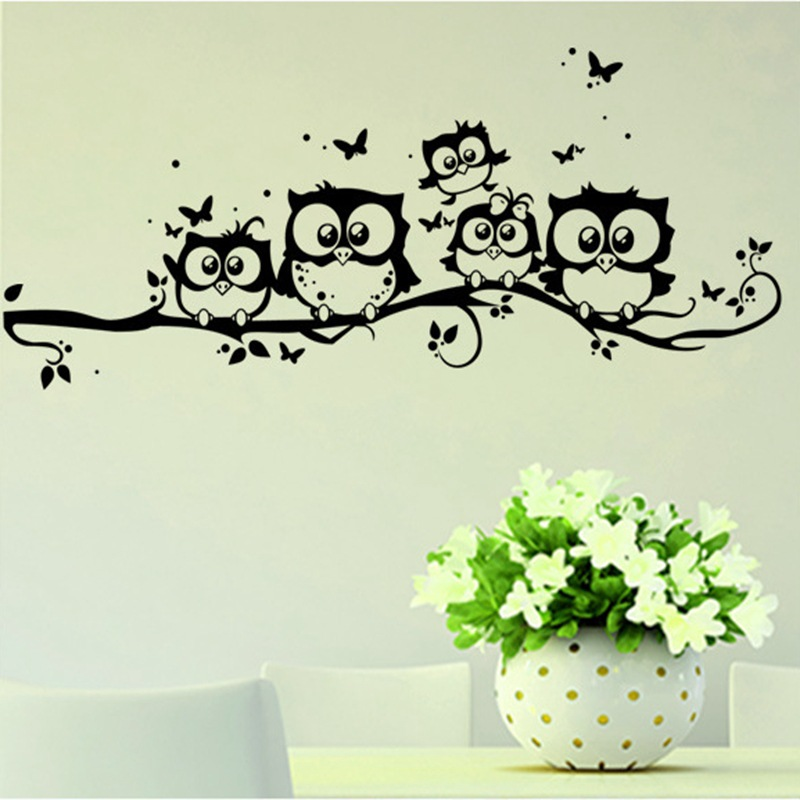 Owl Family Butterfly Tree Branch Removable Wall Sticker
