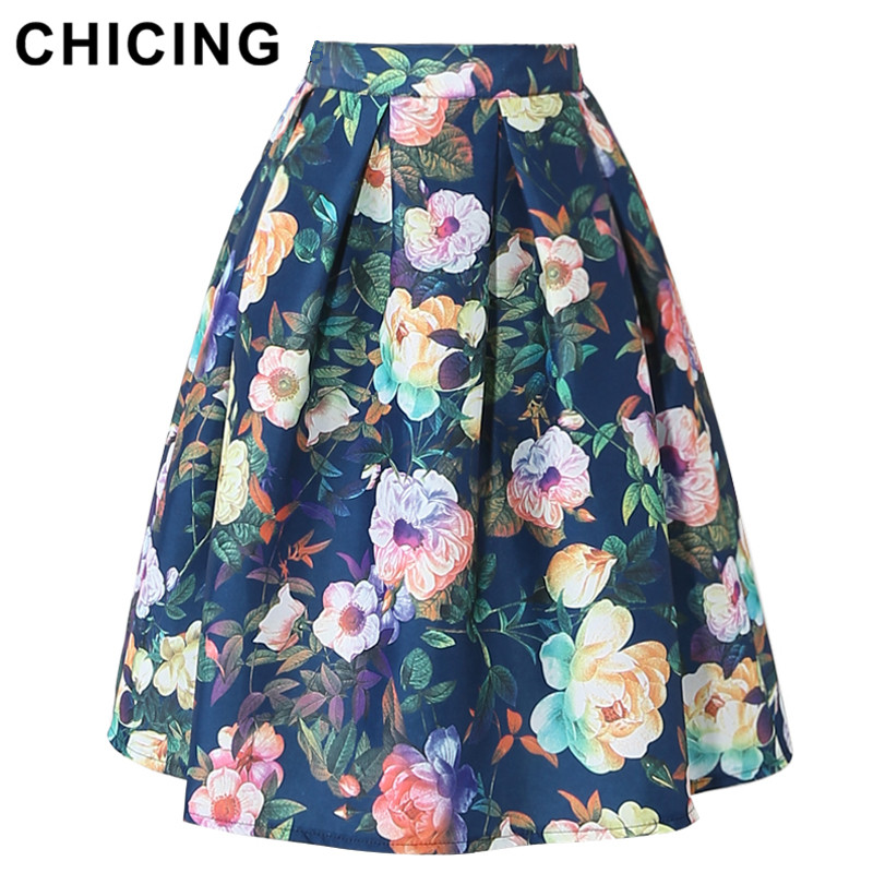 5522556bee CHICING Summer Women Midi Pleated Skirts Vintage Flower Printed Ball Gown  High Waist Flared Knee Length