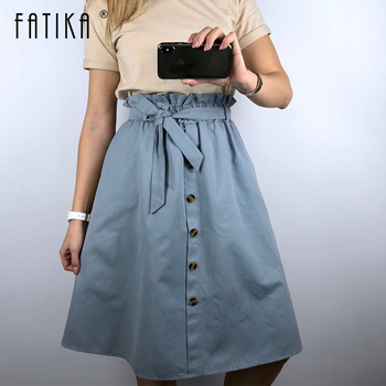 FATIKA High Waist Midi Skirts Solid Pockets A-Line Casual Ladies Bottoms Trendy Female Skirts With Sashes 2019 Hot New For Women 1