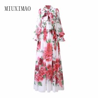Custom Plus Size Maxi Dress 2018 Spring Latest Fashion A Line Bow Puff Sleeve Rose Print Elegant Floor Length Long Dress Women