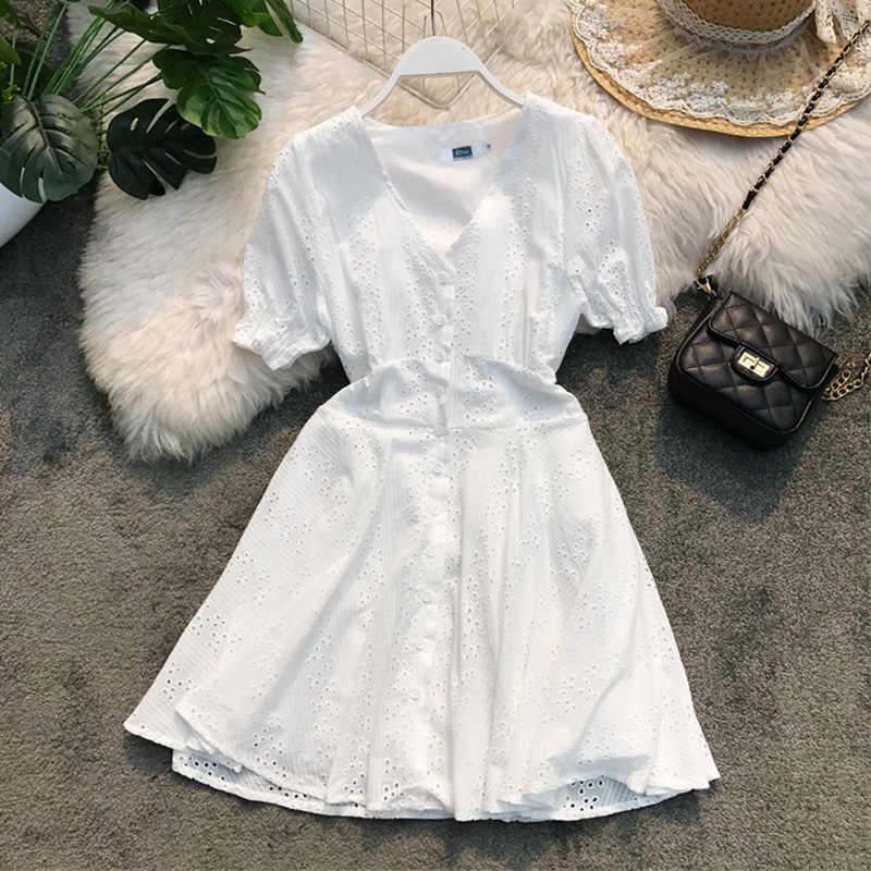 فستان أبيض a-line صف واحد زر الخامس الرقبة انقطاع مثير عالية الخصر أنيقة المرأة فتاة عادية فستان صيفي aa764