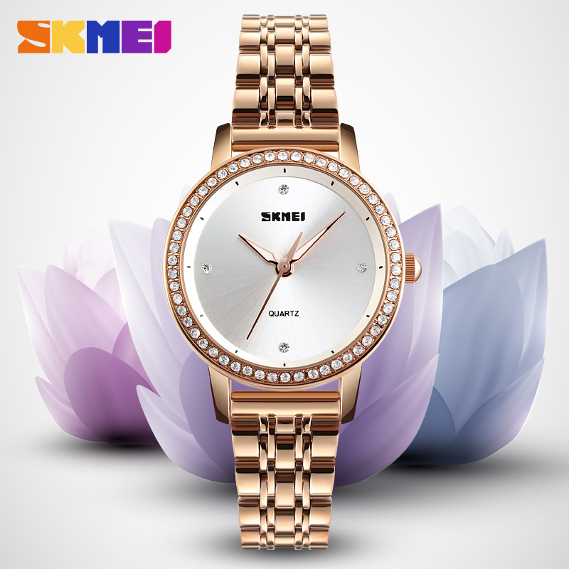 SKMEI Fashion Women Rhinestone Watches Luxury Crystal Glitter Diamond Watch Clock Women Ladies Fashion Dress Quartz Wristwatches